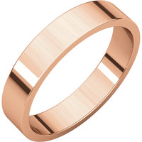 14 k Rose-Pink Gold 4mm Flat Wedding Band Ring - Bridal Jewelry: RingSize: 00