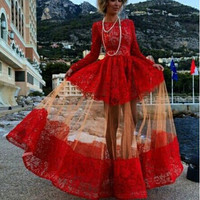 Western-style Fashion Long Sleeves Patchwork Long Lace Dress