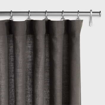 Belgian Linen Laundered Drapery - Dark Gray