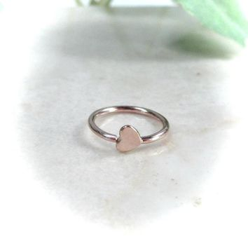 Tragus Hoop Tiny Pink Gold Hearts Single