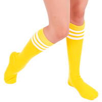 Yellow Tube Knee High Socks with White Stripes