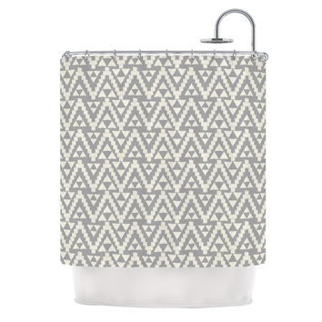 "Amanda Lane ""Geo Tribal Gray"" Grey Tribal Shower Curtain"