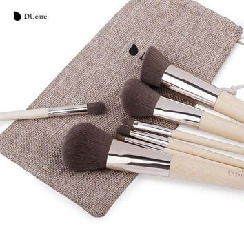 DCCK7G2 DUcare 7Pcs Makeup Brushes Set professional brush set high quality Bamboo Foundation Eyeshadow brush with bag