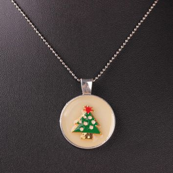 Noctilucent Cabochon Glass Christmas tree Pendant Necklace Chain Luminous Halloween christmas tree Necklace #30