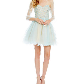 Savannah Nights Flower Beaded Bodice Party Dress | Dillards