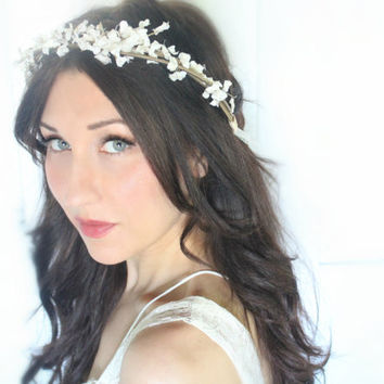 Flower Crown,Wedding, Tiara, Bridal Hair Wreath, head wreath, fairy, woodland - Ash - by DeLoop