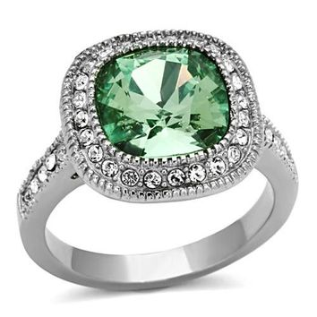 Cushion Halo Emerald Crystal Stainless Steel Ring