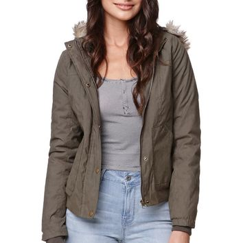 LA Hearts Fur Hood Twill Bomber Jacket - Womens Jacket - Green