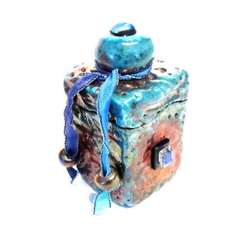 Jewelry or Ring Box Raku Ceramic and Pottery Dichroic Glass Lidded Box - Small Turquoise Raku Copper Metallic Lidded Box for Treasures