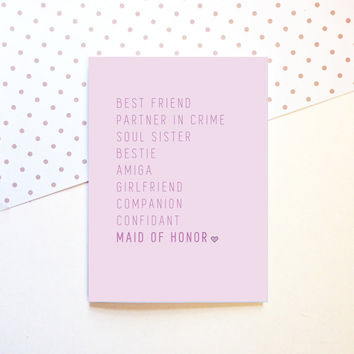 Maid of Honor Proposal Card - Best Friend BFF - Wedding - Cute Fun Modern - 5x7