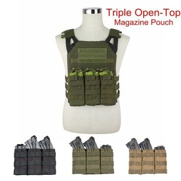 Nylon Bag Tactical MOLLE Triple Open-Top Magazine Pouch Military AK M4 molle Pouch Paintball Equipment Tactical Gear Ammo Box