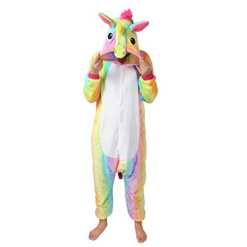 Autumn and Winter Pajamas Sets Cartoon Sleepwear Unisex pyjamas unicorn Flannel Animal sleewear Stitch unicornio kigurumi