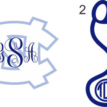 Tar Heels Monogram Sticker ~ North Carolina ~  Custom ~ Vinyl ~ Decal ~ State NC ~ UNC