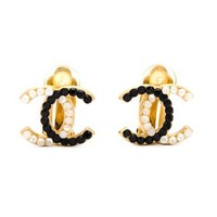 Chanel Vintage Logo Clip On Earrings - What Goes Around Comes Around - Farfetch.com