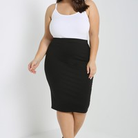 Stretch-Knit Pencil Skirt Plus Size