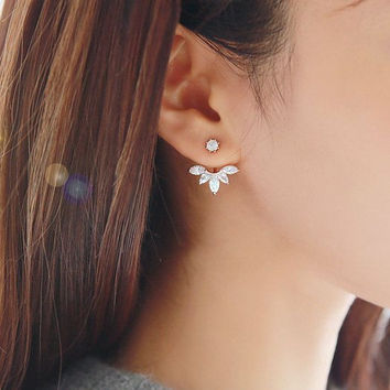 Flower Ear Jacket, Diamond Ear Cuff, Ear Climbers Leaf Ear Crawlers Earrings  - Gold & Silver