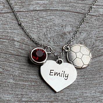 Soccer Engraved Necklace with Birthstone Charm