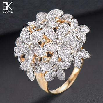GODKI Luxury Flower Cluster Blossom Cubic Zironia Rings For Women Wedding Engagement Dubai Bridal Finger Rings Jewelry Addiction