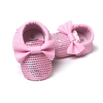 Sequin baby bow moccasins Bling glitter shoes soft sole / 10 color choices