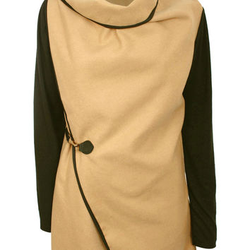 Gini Contrast Sleeve Wrap Over Jacket in Camel Brown
