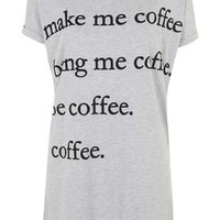 Make Me Coffee Pajama Tee - Grey Marl
