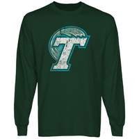 Tulane Green Wave Distressed Primary Long Sleeve T-Shirt - Green