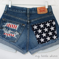 High Waisted Distressed Stars and Stripes Pocket Levi's Shorts (Size 26) - HOLD FOR DEJA