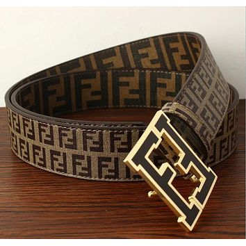FENDI Fashion Woman Men Casual F Letter Smooth Buckle Belt Leather Belt Coffee I12815-1