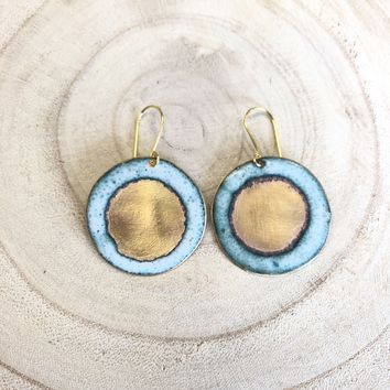 Brass + Enamel Disc Earrings