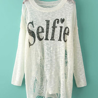 White Selfie Print Ripped Sweater