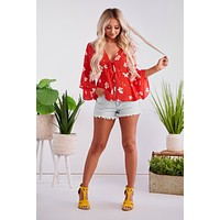 Flower Child Tiered Top (Red Floral)