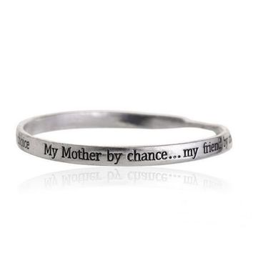 """My Mother by Chance"" Hand Stamped Bangle [Silver, Gold or Rose Gold]"