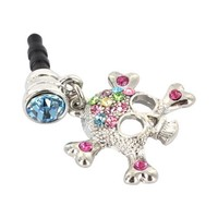 For Apple iPhone 4S 4 Galaxy S Cell Phones & MP3s Silver Skull Multi Colored Gems Universal 3.5mm H