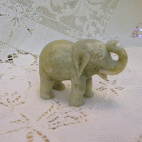 Carved stone elephant figurine