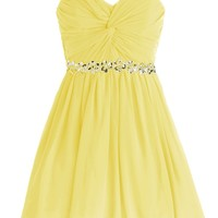 Dressystar Short Chiffon Bridesmaid Dresses Strapless Girls Prom Gowns Size 10 Yellow