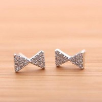 tiny RIBBON with swarovski crytals stud earrings by bythecoco on Zibbet