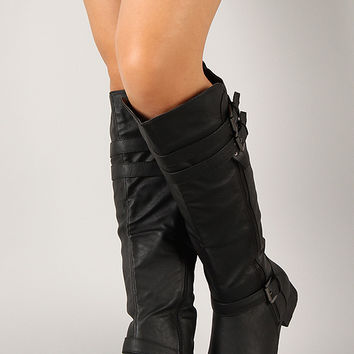 Round Toe Buckle Riding Knee High Boot