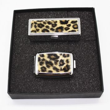 Lipstick Holder with Matching Pillbox Faux Leopard or Zebra Fur