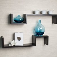 "Set of 2 Espresso Color ""S"" Wall Mount Shelves"