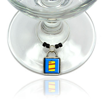 Suitcase Travel Bag Luggage Wine Glass Silver Charm