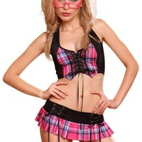 YesX Sexy Lingerie Naughty Tartan School Girl Costume Set Pink Black
