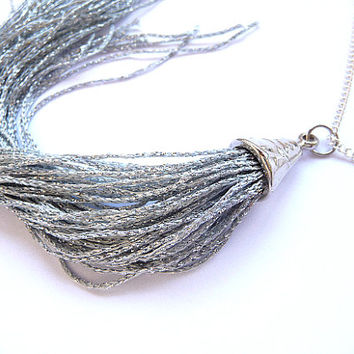 Tassel Necklace, Fringe Necklace, silver tassel necklace, silver tassel, silver necklace, Long fringe necklace, long tassel necklace,