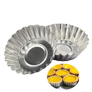 10pcs Cake Aluminium Alloy Tart Mould Baking Tool Cupcake Egg Tart Fruit Tart Mold 7Cm Diameter