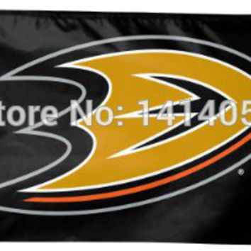 Anaheim Ducks with modified Flag 150X90CM  NHL 3X5 FT Banner 100D Polyester flag brass grommets 001, free shipping BC633