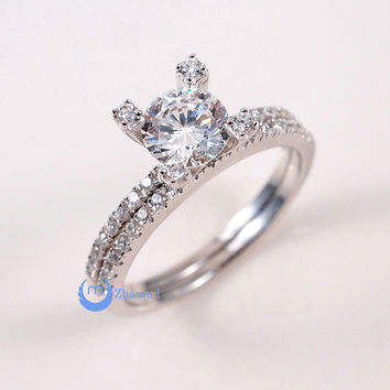 1.25ct Engagement Tower Wedding RINGS Set Signity CZ Rhodium Sterling Silver