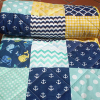 Baby Quilt Toddler,Nautical Baby quilt,baby boy or girl bedding,Patchwork Crib quilt,navy,teal,yellow,whales,anchors,chevron,modern,toddler
