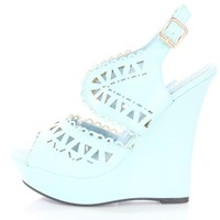 Blue Perforated Scalloped Strappy Wedges Faux Leather