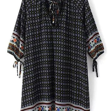 Tie Neck Printed Tunic Dress With Sleeve Bow