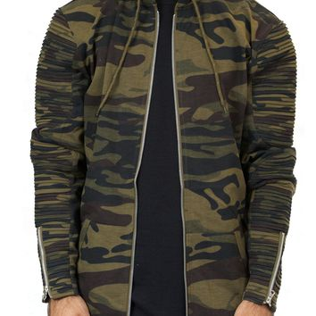 Ribbed Hoodie Jacket in Camo