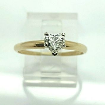 1/2 CT DIAMOND HEART ENGAGEMENT RING 14K Y/ GOLD!! BEAUTIFUL!!! RARE!! 100101